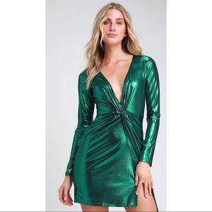 Lulus Green Metallic Twist-Front Long Sleeve Dress